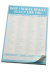Why I Really, Really, Really Like You Notepad by Knock Knock - Blue, Dorm Decor