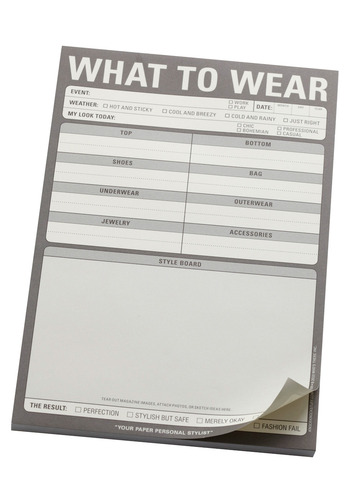 What to Wear Notepad by Knock Knock - Grey, Dorm Decor