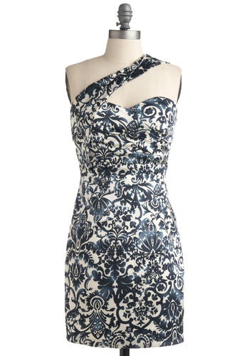 Proposal Party Dress - Blue, White, Floral, Casual, Shift, One Shoulder, Mid-length
