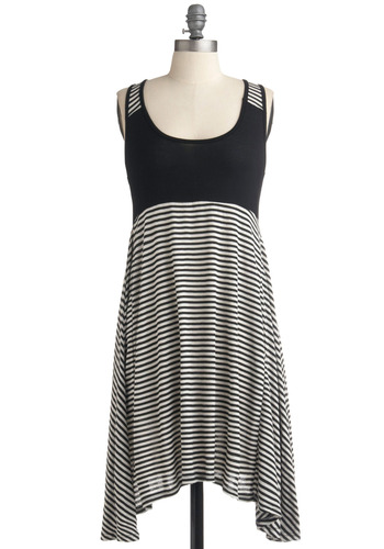 The Stripe Stuff Dress - Stripes, Casual, A-line, Empire, Tank top (2 thick straps), Racerback, Spring, Summer, Black, White, Short
