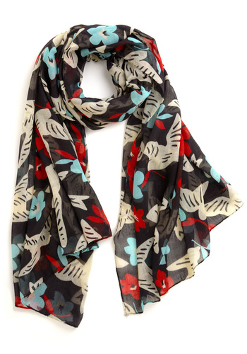 New Heights Scarf - Black, Multi, Red, Blue, Floral, Casual