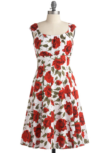 Vibrant Varietals Dress | Mod Retro Vintage Printed Dresses | ModCloth.com :  flared pleated sage sunny