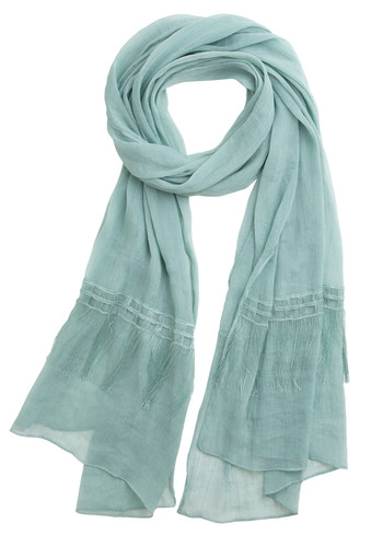 Sea Cliff Scarf - Green, Solid, Fringed, Trim, Casual, Spring, Fall, Winter