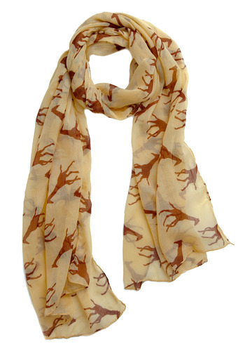 Tall Order Scarf - Tan, Brown, Print with Animals, Novelty Print, Casual, Spring, Summer, Fall