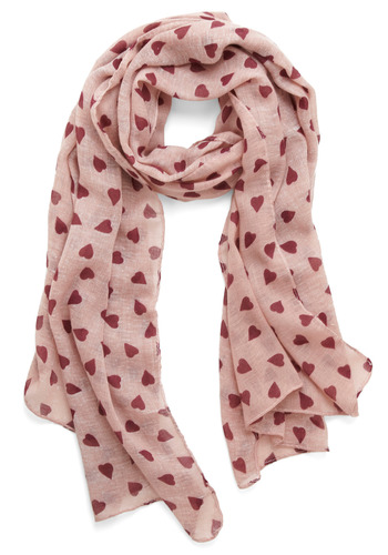 Heart Habit to Break Scarf - Pink, Red, Polka Dots, Novelty Print, Casual, Spring, Summer, Fall