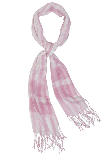 Sweet Finish Scarf - Pink, White, Plaid, Fringed, Tassles, Casual, Spring, Summer, Fall