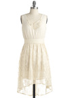 Classic Theater Dress - Casual, Solid, Ruffles, Empire, Halter, Spring, Summer, Mid-length, Cream, White, Vintage Inspired, 20s, 30s, Graduation