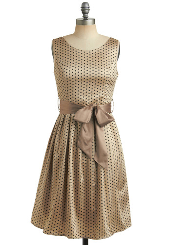 Day Moon Dress - Brown, Tan, Black, Polka Dots, Bows, Formal, Wedding, Party, A-line, Sleeveless, Mid-length