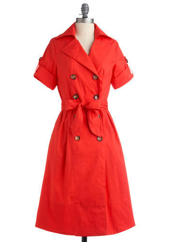 Featured Home Dress - Red, Orange, Solid, Bows, Buttons, Pleats, Pockets, Casual, Vintage Inspired, A-line, Short Sleeves, Spring, Summer, Shirt Dress, Long