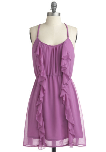 I Lilac Your Style Dress - Purple, Solid, Ruffles, Casual, A-line, Spaghetti Straps, Racerback, Spring, Summer, Mid-length