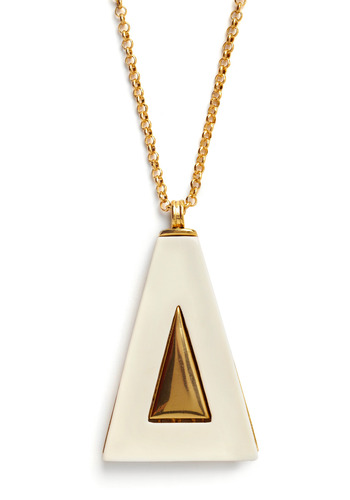 Geometrics of the Trade Necklace - White, Gold, Chain, Party, Casual, Vintage Inspired, 80s, 60s