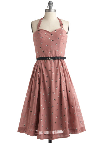 Trusty Rose Dress | Mod Retro Vintage Printed Dresses | ModCloth.com :  floral the 50s halter dress buttons