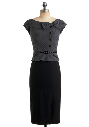 Streetcar Commute Dress by Stop Staring! - Black, Grey, Polka Dots, Bows, Buttons, Party, Work, Sheath / Shift, Twofer, Short Sleeves, Long, Rockabilly, Pinup, Vintage Inspired, 40s, 50s