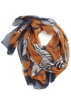 Safari, So Near Scarf - Orange, Blue, White, Print with Animals, Casual