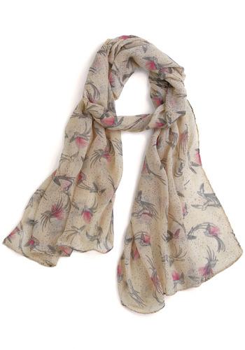 Swoop-ay-doop Scarf | Mod Retro Vintage Scarves | ModCloth.com :  sparrow polka dots beige silver