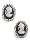 So Glad You Cameo Earrings - Black, White, Pearls, Casual, Vintage Inspired, French / Victorian, Graduation