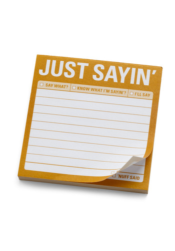 Just Sayin Sticky Notes by Knock Knock - Yellow, Dorm Decor, Best Seller, Best Seller, Good