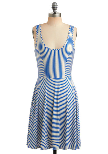 Season Cycle Dress in Blue Sky - Blue, Stripes, Casual, Nautical, Tank top (2 thick straps), Spring, Summer, Mid-length, White