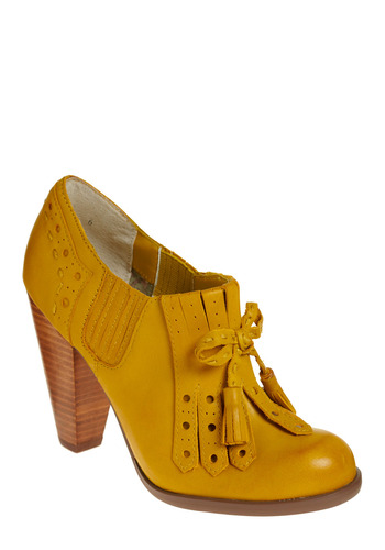 Clue Bootie by Seychelles - Yellow, Bows, Fringed, Tassles, Party, Casual, Spring, Summer, Fall