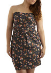 Meant for You Dress - Plus Size - Multi, Floral, Pleats, Casual, Sheath / Shift, Strapless, Spring, Summer, Green, Blue, Pink