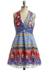 Covered Market Dress - Multi, Red, Yellow, White, Casual, Empire, Halter, Spring, Summer, Blue, Short