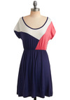 Pep Rally Dress - Blue, Pink, White, Casual, A-line, Short Sleeves, Summer, 80s, Jersey, Mid-length, Travel