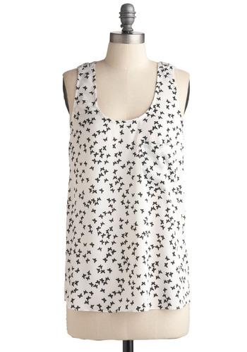 Flutter-rific Tank | Mod Retro Vintage Short Sleeve Shirts | ModCloth.com :  fluttery butterfly tank top front pocket