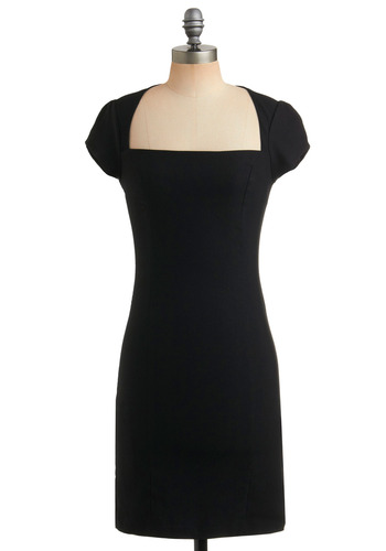 Un-twill We Meet Again Dress in Soon - Black, Solid, Party, Work, Casual, Pinup, Vintage Inspired, Sheath / Shift, Cap Sleeves, Mid-length