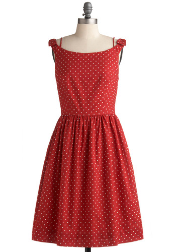 Dinner Belle Dress in Dots by Emily and Fin - Red, White, Polka Dots, Casual, A-line, Sleeveless, Long, International Designer