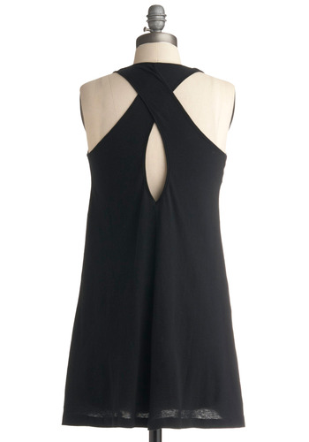 Favorite Necessity Tunic - Black, Solid, Cutout, Casual, Tank top (2 thick straps), Racerback, Long