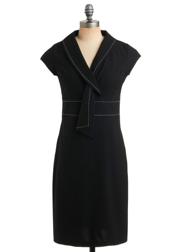 Polished Professional Dress | Mod Retro Vintage Printed Dresses | ModCloth.com :  banded stitching sash collar fitted