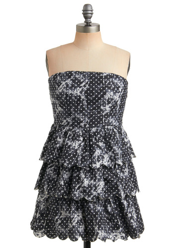 Collect the Dots Dress | Mod Retro Vintage Printed Dresses | ModCloth.com :  sundress polka dots tiers chambray