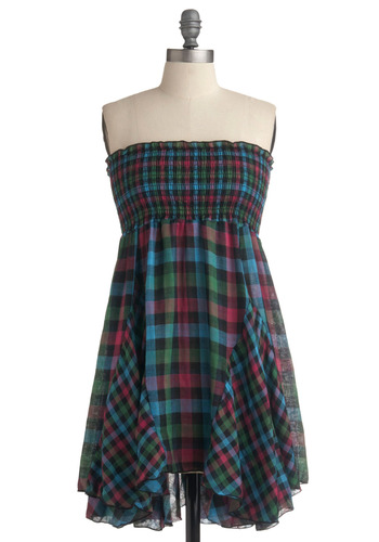 Road Trip Mixtape Dress | Mod Retro Vintage Printed Dresses | ModCloth.com :  shirring bias cut black and green buffalo plaid