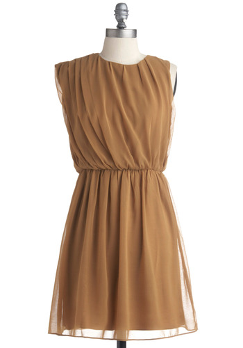Butterscotch Latte Dress - Tan, Solid, Cutout, Pleats, Party, Casual, A-line, Sleeveless, Mid-length