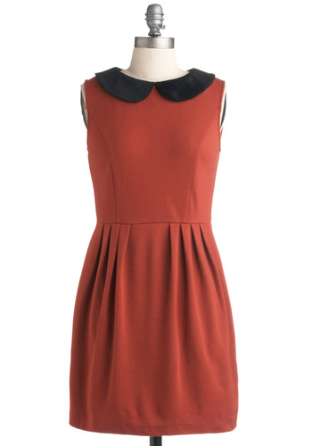 Wallet Portrait Dress - Orange, Black, Solid, Peter Pan Collar, Pleats, Work, Casual, Vintage Inspired, A-line, Sleeveless, Spring, Summer, Fall, Short