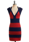 Ver-million Bucks Dress - Red, Blue, Stripes, Cutout, Party, Casual, Short