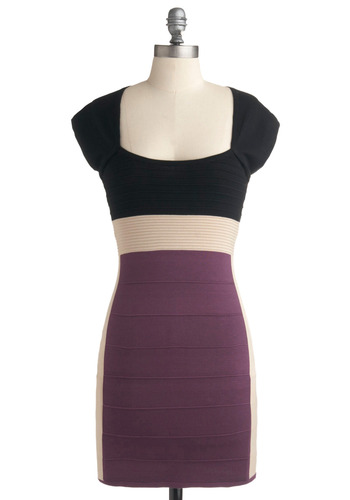 Karaoke Room Dress in Power Ballad - Purple, Tan / Cream, Casual, Shift, Cap Sleeves, Summer, Black, Show On Featured Sale, Short, Girls Night Out, Bodycon / Bandage