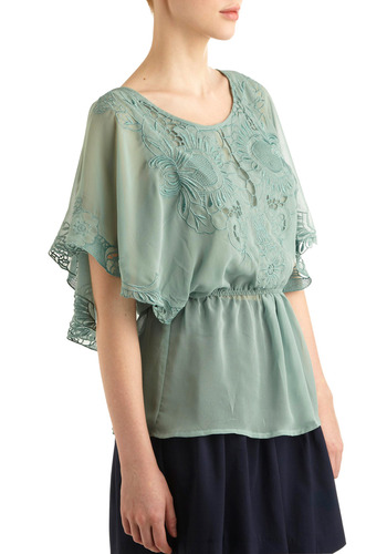 Flower Styled Top - Green, Buttons, Cutout, Embroidery, Casual, Vintage Inspired, Short Sleeves, Spring, Summer, Mid-length