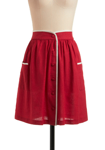 Skate Key Skirt - Red, White, Solid, Buttons, Pockets, Trim, Casual, Vintage Inspired, A-line, Spring, Summer, Mid-length