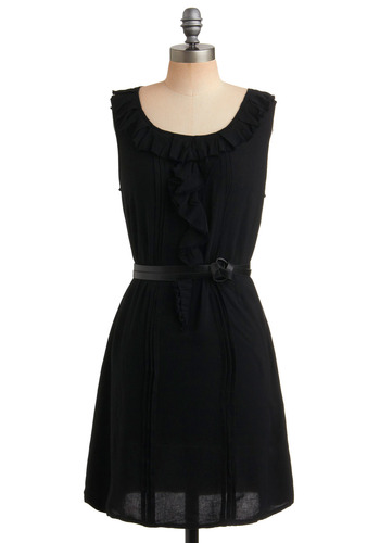 Coffee Shop Sweetheart Dress - Black, Solid, Pleats, Ruffles, Casual, A-line, Shift, Sleeveless, Spring, Summer, Mid-length