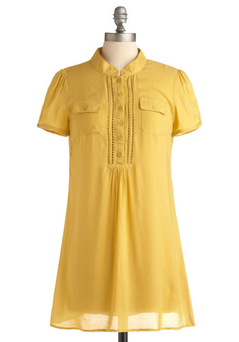 Stay Golden Tunic | Mod Retro Vintage Short Sleeve Shirts | ModCloth.com :  striped textured breezy cutout detail
