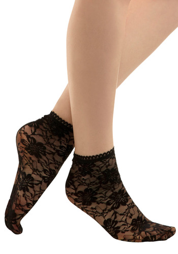 Posh Pace Socks in Dinner Date - Black, Floral, Lace, Trim, Party, Work, Casual, Knitted