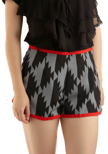 Tess-elation Shorts - Grey, Red, Print, Trim, Casual, Summer, Short, Black, Fall