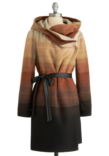 Ombre Elegance Coat by BB Dakota - Multi, Brown, Tan / Cream, Black, Stripes, Casual, Long Sleeve, Winter, Fall, Vintage Inspired, 70s, Long, 2.5, Press Placement