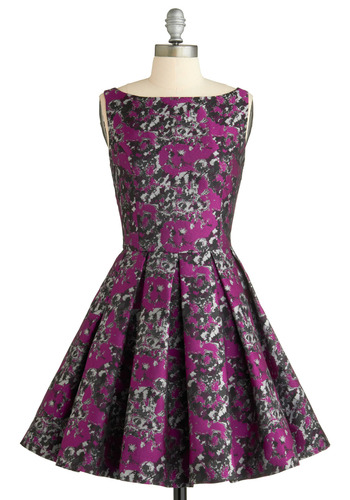Classic Stunner Dress by BB Dakota - Purple, Floral, Print, Pleats, Wedding, Party, A-line, Sleeveless, 50s, Fall, Black, Grey, Silver, Special Occasion, Prom, Vintage Inspired, Mid-length