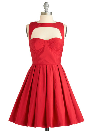 Crimson Sighs Dress by BB Dakota - Red, Solid, Backless, Cutout, Pleats, Special Occasion, Prom, Wedding, Party, Vintage Inspired, A-line, Sleeveless, Show On Featured Sale, Mid-length