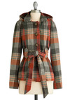 Very Vermont Jacket by Jack by BB Dakota - Orange, Grey, White, Plaid, Bows, Buttons, Casual, Long Sleeve, Fall, Winter, Mid-length