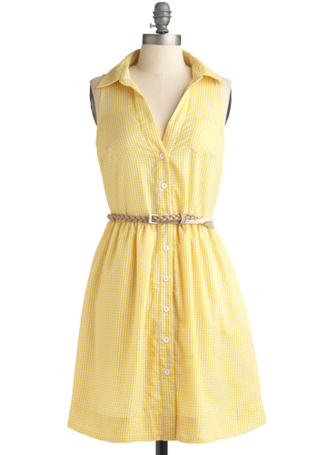 Yellow, Darling! Dress | Mod Retro Vintage Printed Dresses | ModCloth.com :  shirt dress belt summery yellow