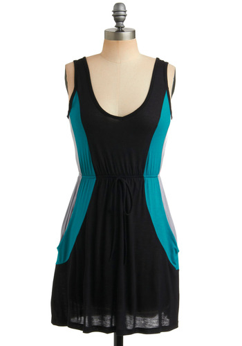 On a Roll-er Rink Dress in Arcade - Black, Blue, Grey, Casual, A-line, Sleeveless, Tank top (2 thick straps), Short