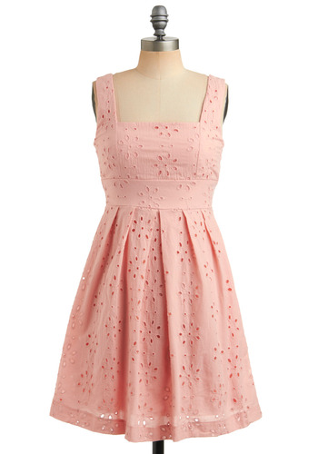 One Scoop Dress in Strawberry - Pink, Bows, Eyelet, Pleats, Party, Casual, A-line, Empire, Tank top (2 thick straps), Spring, Summer, Mid-length